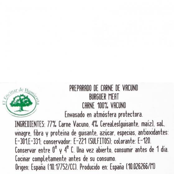 Hamburguesa de Vacuno Burger Meat Mini El Encinar de Humienta (8x45) 360 g - 4