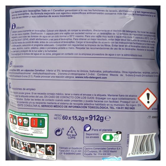 Lavavajillas Todo en 1 aroma limón en cápsulas Carrefour 60 ud. - 1