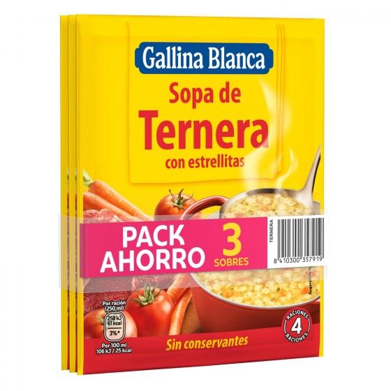 Sopa de ternera con estrellitas Gallina Blanca pack de 3 sobres de 73 g.