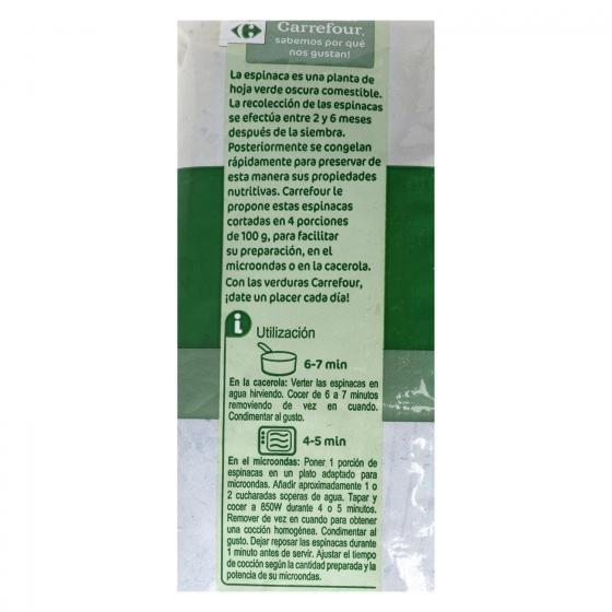 Espinacas cortadas en porciones Carrefour 400 g. - 3
