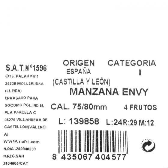 Manzana envy selecta Carrefour bandeja 4 ud 1 Kg  - 3