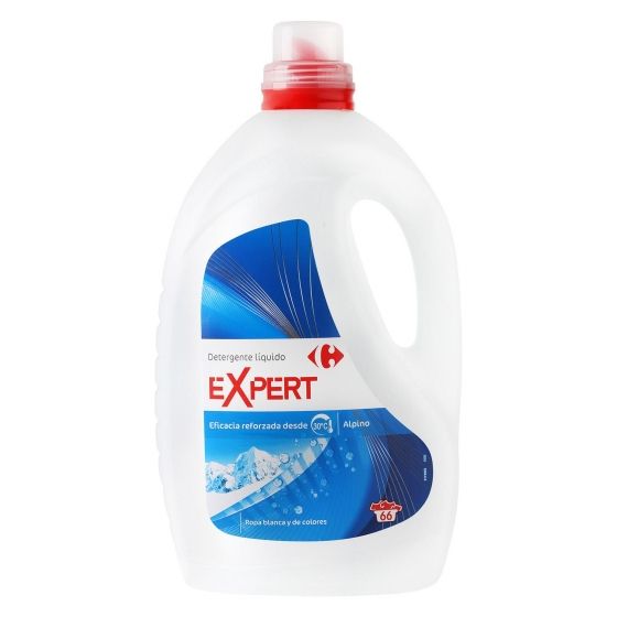 Detergente líquido Expert Alpino Carrefour 66 lavados.