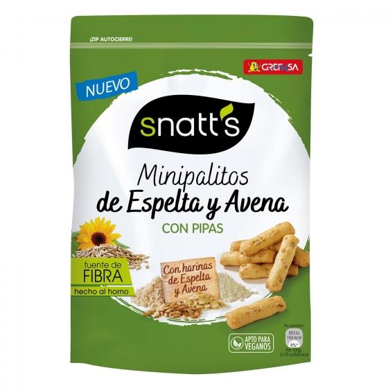 Palitos mini de espelta y avena con pipas Grefusa Snatt's 120 g.