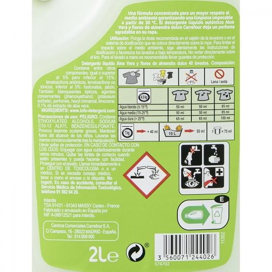 Detergente líquido aloe vera y flores de almendras Carrefour 40 lavados. - 1