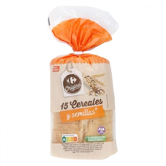 Pan con cereales y semillas de sésamo, lino y girasol Carrefour 450 g.