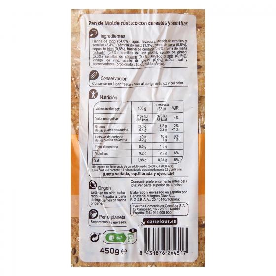 Pan con cereales y semillas de sésamo, lino y girasol Carrefour 450 g. - 1