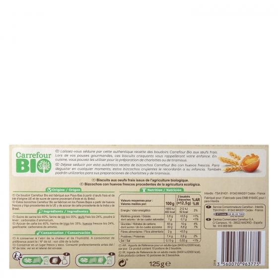Bizcochos con huevos frescos ecológicos Carrefour Bio 125 g. - 1
