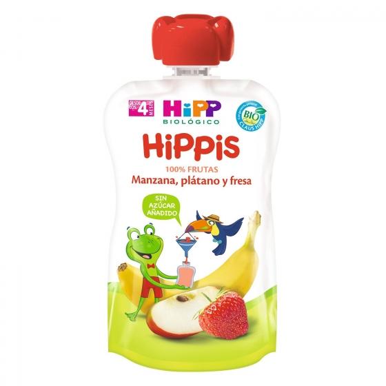 Preparado de manzana, plátano y fresa desde 4 meses sin azúcar añadido ecológico Hippis bolsita de 100 g. - 1