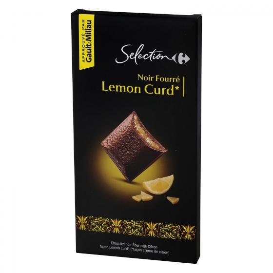 Chocolate negro relleno de limón Carrefour Selección 125 g.