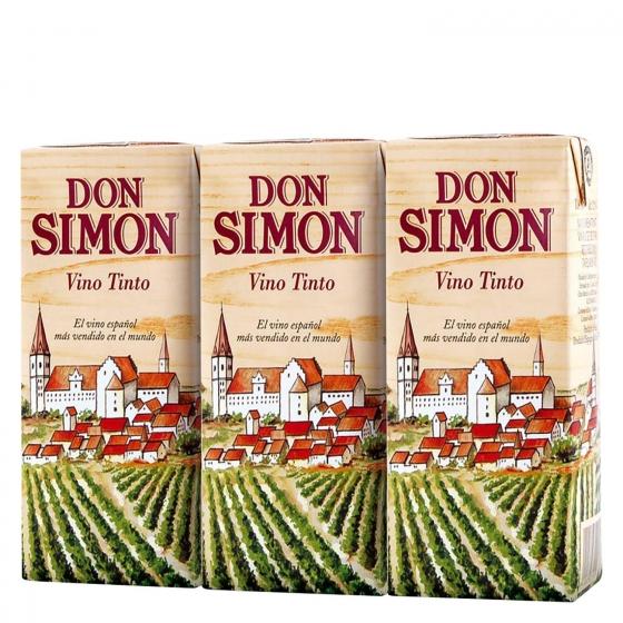 Vino tinto Don Simón pack de 3 briks de 18,7 cl.