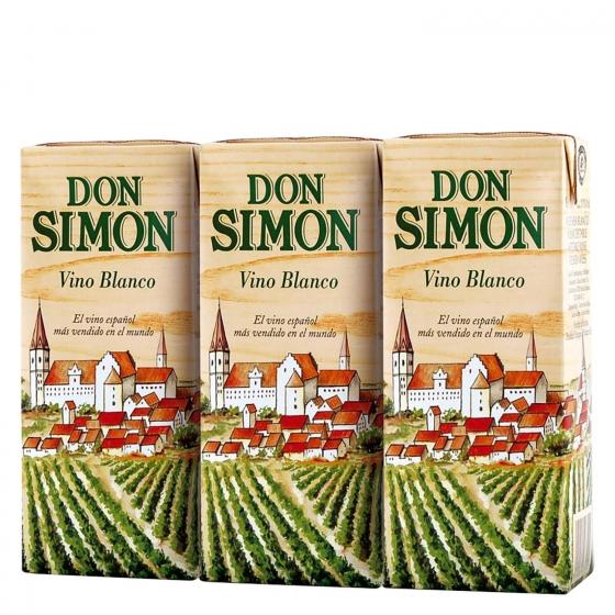 Vino blanco Don Simón pack de 3 briks de 18,7 cl.