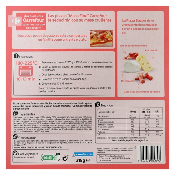 Pizza de bacon Carrefour 315 g. - 1