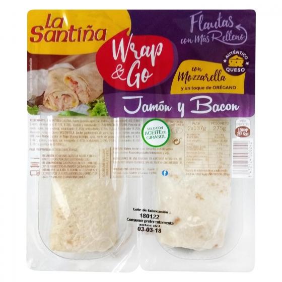 Flautas rellenas de jamón y bacon con mozzarella y toque de orégano wrap & go La Santiña pack de 2 unidades de 137 g.