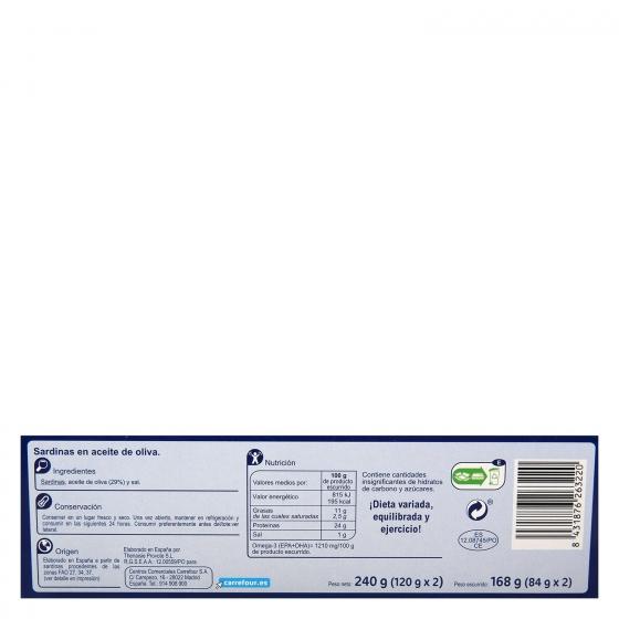 Sardinas en aceite de oliva Carrefour pack de 2 unidades de 120 g. - 1