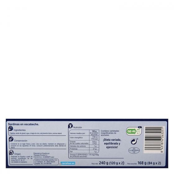Sardinas en escabeche Carrefour pack de 2 unidades de 120 g. - 1
