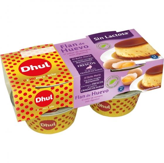 Flan de huevo Dhul sin gluten y sin lactosa pack de 4 unidades de 110 g.