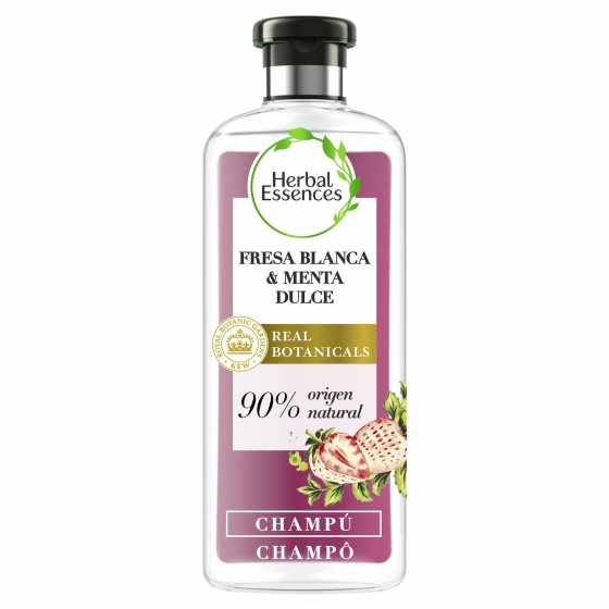 Champú Purificante Fresa blanca & menta dulce bío:renew Herbal Essences 400 ml.