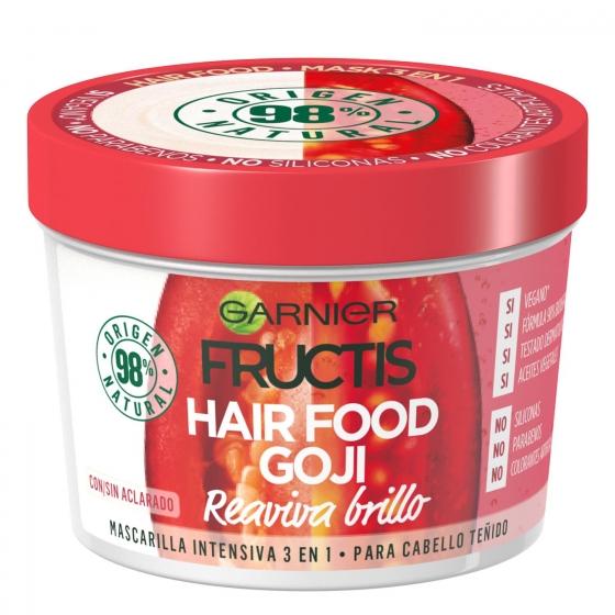 Mascarilla capilar 3 en 1 Hair Food Goji Reaviva brilo Para cabello teñido Garnier Fructis 390 ml.