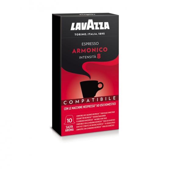 Café armónico en cápsulas Lavazza compatible con Nespresso 10 unidades de 5 g.