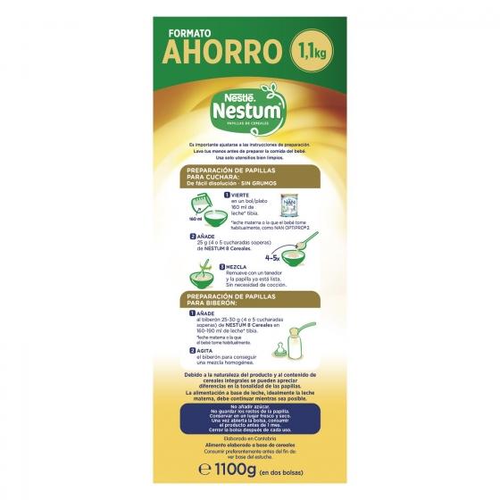 Papilla infantil desde 6 meses de 8 cereales integrales sin azúcar añadido Nestlé Nestum sin aceite de palma 1100 g. - 1
