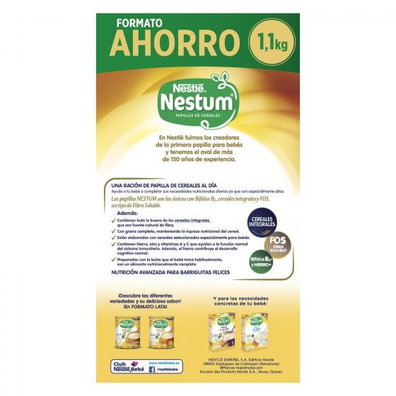 Papilla infantil desde 6 meses de 8 cereales integrales sin azúcar añadido Nestlé Nestum sin aceite de palma 1100 g. - 3