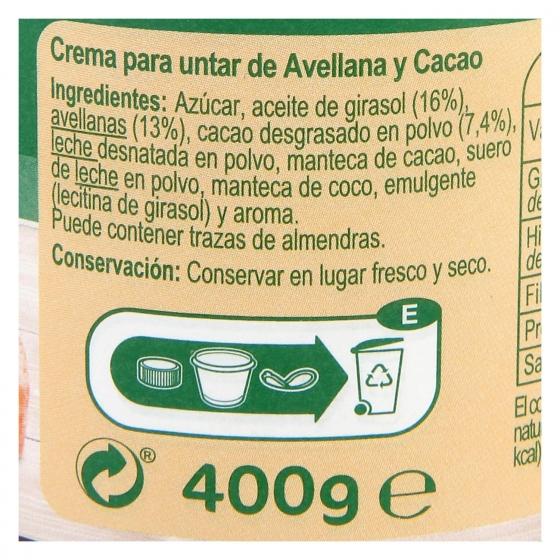 Crema de avellanas con cacao Carrefour 400 g. - 1