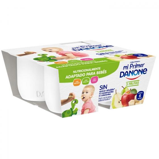 Yogur tres frutas con leche de continuación desde 6 meses Mi primer Danone pack de 4 unidades de 100 g.