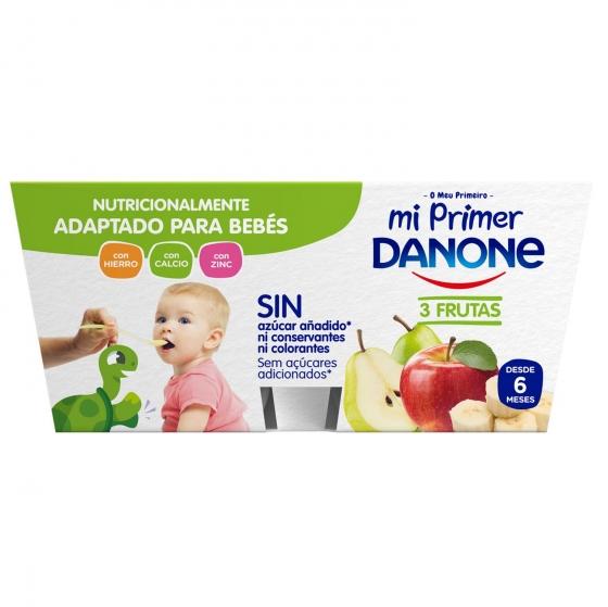 Yogur tres frutas con leche de continuación desde 6 meses Mi primer Danone pack de 4 unidades de 100 g. - 1