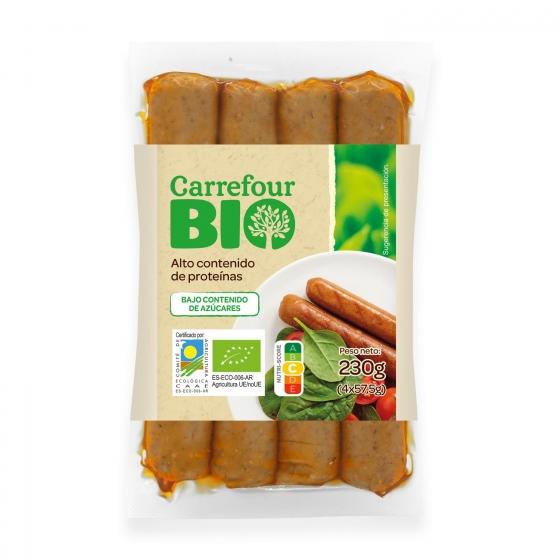 Salchichas vegetales ecológicas Carrefour Bio 230 g.