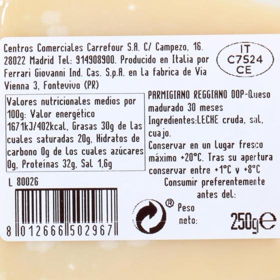 Queso parmigiano reggiano D.O.P. 30 meses curación Terre D´Italia 250 g - 1