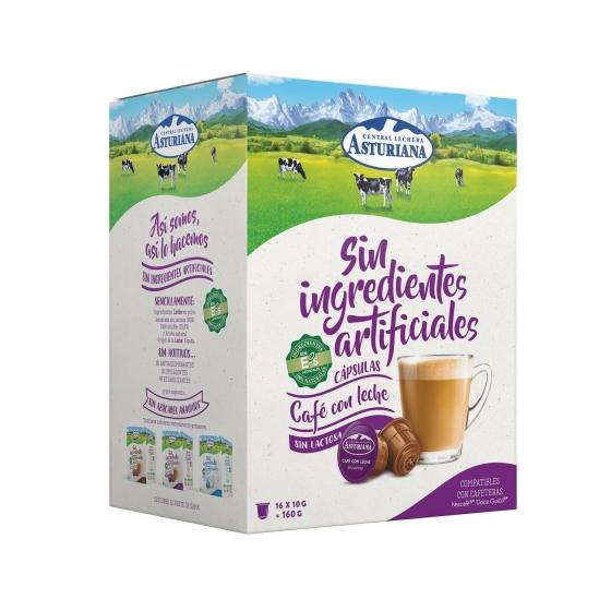 Café con leche en cápsulas Central Lechera Asturiana sin lactosa compatible con Dolce Gusto 16 unidades de 10 g.