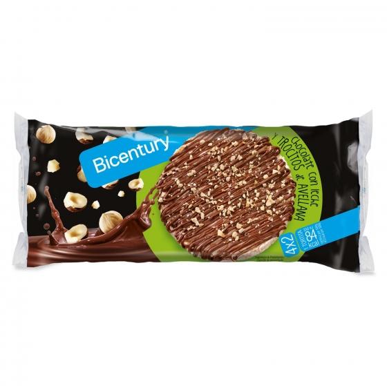 Tortitas De Arroz Con Chocolate Leche Y Trozos De Avellanas