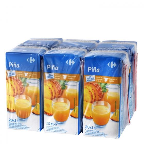 Bebida de piña Carrefour sin azúcar pack de 6 briks de 20 cl.