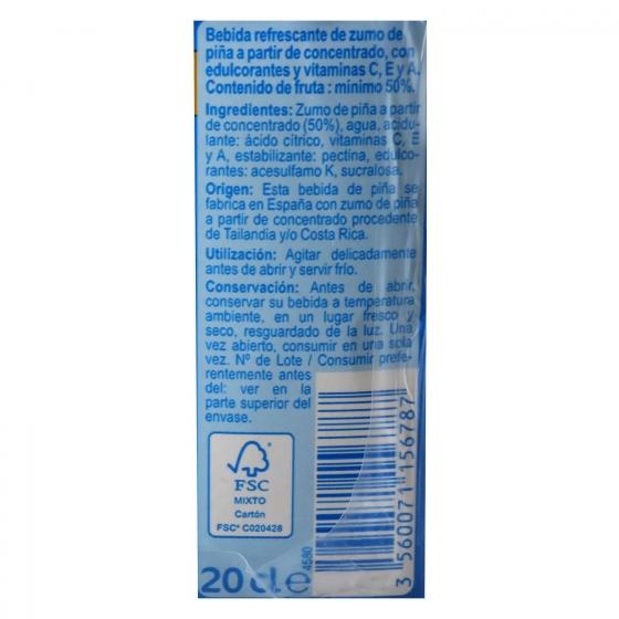 Bebida de piña Carrefour sin azúcar pack de 6 briks de 20 cl. - 3