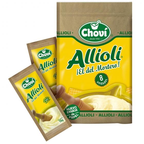 Salsa alioli Chovi sin gluten pack de 8 unidades de 18 g.