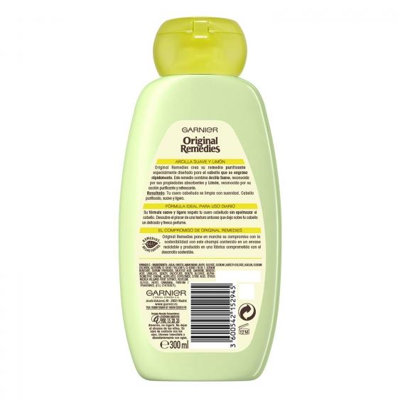 Champú purificante con arcilla suave y limón Original Remedies 300 ml. - 1