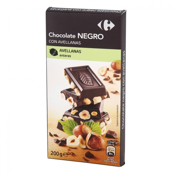 Chocolate negro con avellanas enteras Carrefour 200 g.