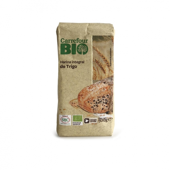 Harina de trigo integral ecológica Carrefour 500 g.
