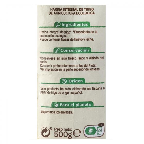 Harina de trigo integral ecológica Carrefour 500 g. - 1