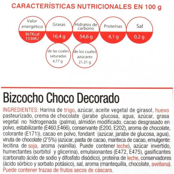Bizcocho chocolate decorado 400 g - 3