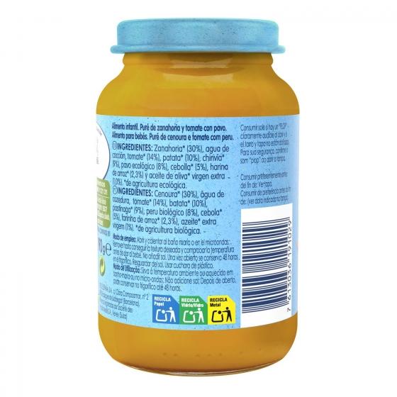 Tarrito de zanahoria y tomate con pavo desde 6 meses sin azúcar añadido ecológico Nestlé Naturnes sin gluten 200 g. - 1