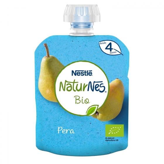 Preparado de pera y plátano desde 4 meses ecológico Nestlé Naturnes sin gluten bolsita de 90 g.