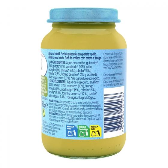 Tarrito de guisantes con patata y pollo desde 6 meses sin azúcar añadido ecológico Nestlé Naturnes sin gluten 200 g. - 1