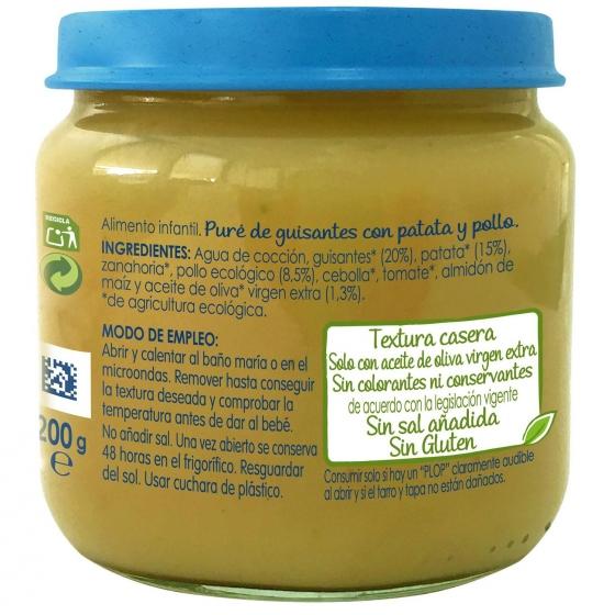 Tarrito de guisantes con patata y pollo desde 6 meses sin azúcar añadido ecológico Nestlé Naturnes sin gluten 200 g. - 6
