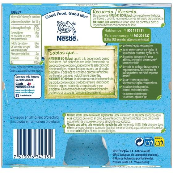 Postre lacteo natural desde 6 meses sin azúcar añadido ecológico Nestlé Naturnes pack de 4 unidades de 90 g. - 6