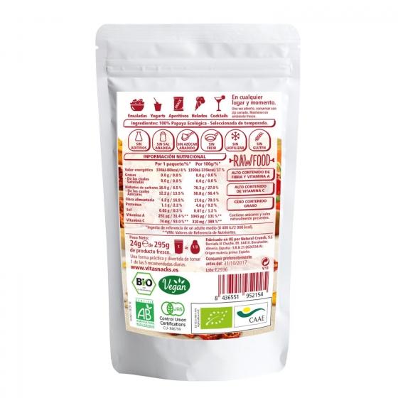 Snack de papaya crujiente ecológica VitaSnack sin gluten 24 g. - 1
