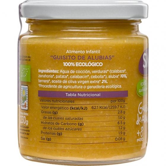 Tarrito de guiso de alubias desde 8 meses ecológico Smileat sin gluten 230 g. - 3