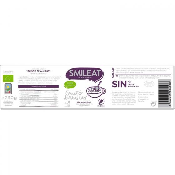 Tarrito de guiso de alubias desde 8 meses ecológico Smileat sin gluten 230 g. - 4