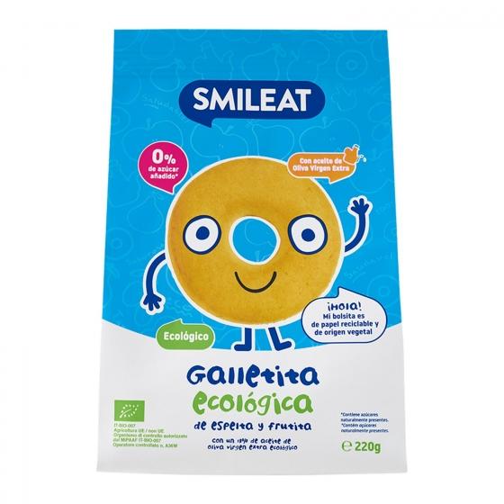 Galletas infantiles desde 8 meses de espelta y fruta ecológicas Smileat 220 g.