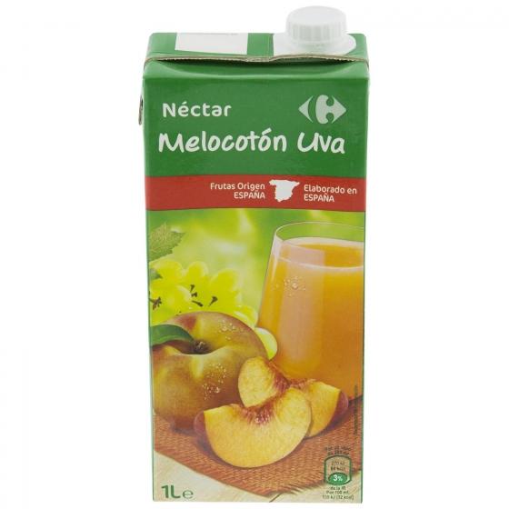 Néctar de melocotón y uva Carrefour brik 1 l.